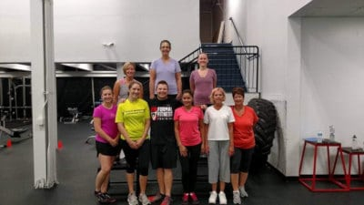 mike with fitness girls
